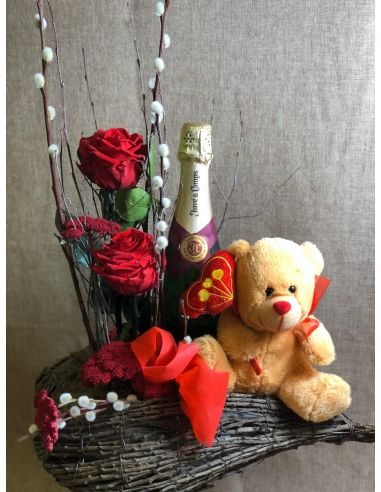 Corazón san Valentín con Cava