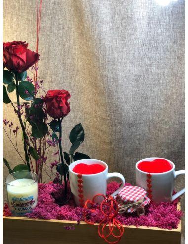 kit de desayuno romántico con tazas