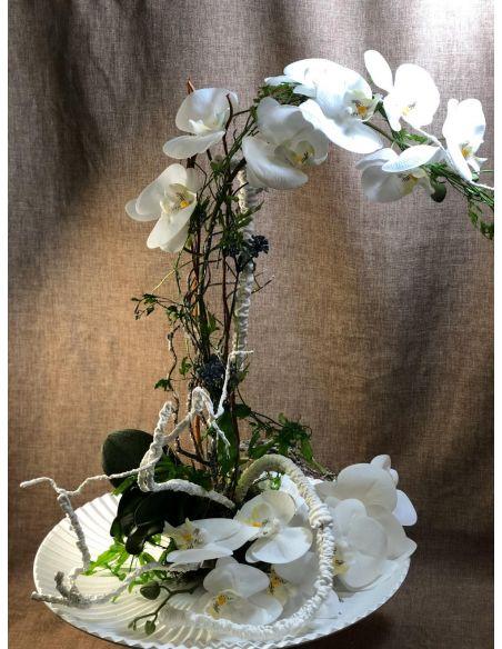 Centro orquídea blanca con base